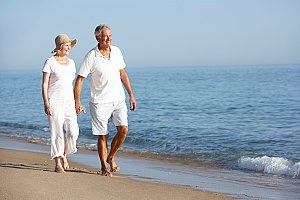 a couple walking on the beach enjoying their retirement and not worrying about their financial situaltion since they both have 401k retirement plans